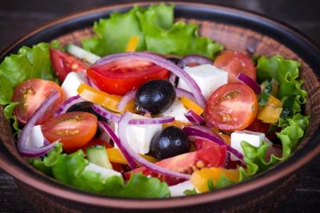 Fresh vegetable greek salad, close up Stock Photo