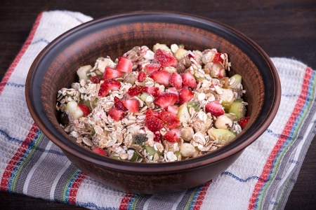Muesli with lots of dry fruits, nuts, berries and grains photo