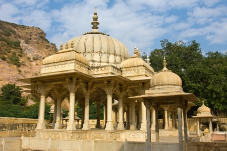 Memorial grounds to Maharaja Sawai Mansingh II and family constructed of marble. Gatore Ki Chhatriyan, Jaipur, Rajasthan, India. photo