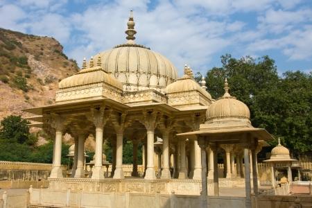 maharaja: Memorial grounds to Maharaja Sawai Mansingh II and family constructed of marble. Gatore Ki Chhatriyan, Jaipur, Rajasthan, India.
