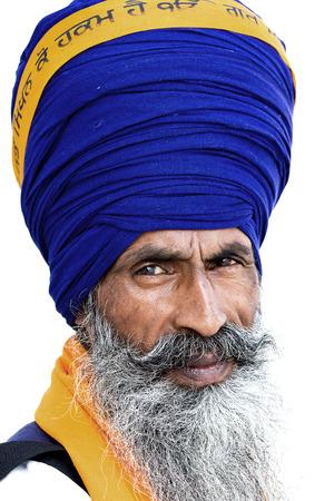 sikhism: Portrait of Indian sikh man in turban with bushy beard Stock Photo