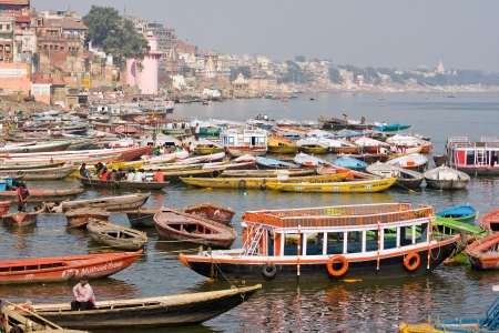 VARANASI, INDIA - DECEMBER 2: Main ghat on the banks of Ganges river, in holy Varanasi, Uttar Pradesh, on December 2, 2012 in Varanasi, India. The most holy river of India and Hindu culture.