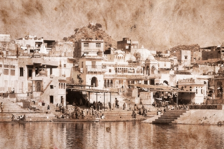 Pushkar, India. Artwork in retro style. Stock Photo - 22688010
