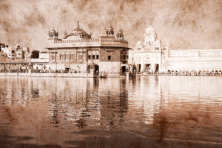 amritsar: Golden Temple in Amritsar, Punjab, India. Artwork in retro style.