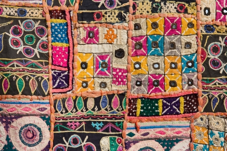 Indian patchwork carpet in Rajasthan, Asia Stock Photo