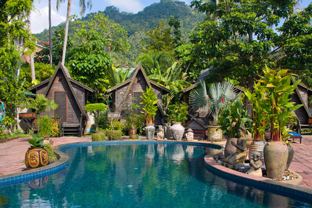 spa and resort: Swimming pool in spa resort   Thailand Editorial