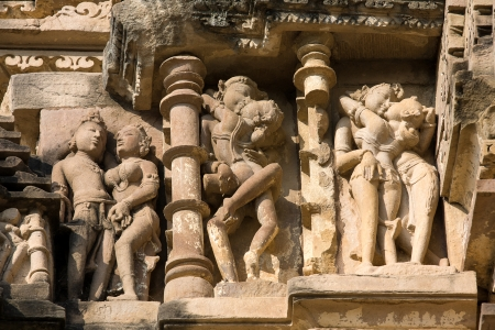 Stone carved - fragment of the famous erotic temple in Khajuraho, Madhya Pradesh State, India.