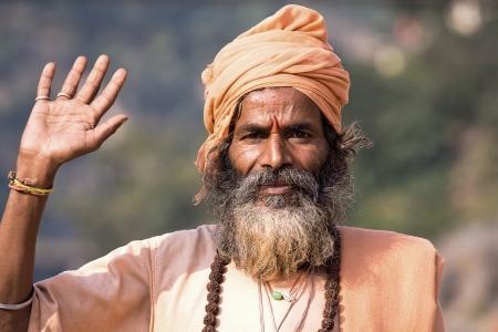 devprayag: Indian sadhu (holy man). Devprayag, Uttarakhand, India.