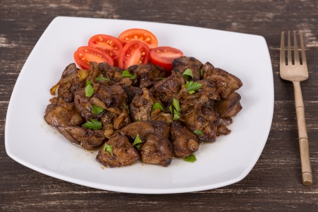 innards: Chicken livers in a creamy sauce with onion