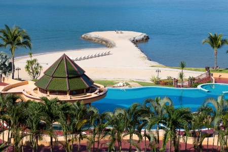 Swimming pool near the sea , Thailand. Top view.