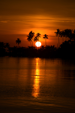 Beautiful sunset on the beach in island Koh Chang, Thailand. photo