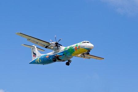 public company: KOH SAMUI - NOVEMBER 25: A Bangkok Airways ATR 72-500 take off on Nov 25, 2013 in Koh Samui, Thailand. Bangkok Airways Public Company Limited is a regional airline based in Bangkok, Thailand.