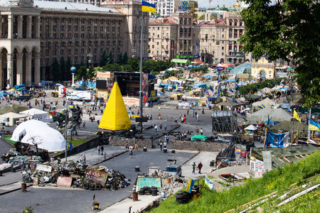 dictatorship: KIEV, UKRAINE - MAY 29, 2014:  Independence Square in Kiev during a demonstration against the dictatorship of Yanukovych Editorial