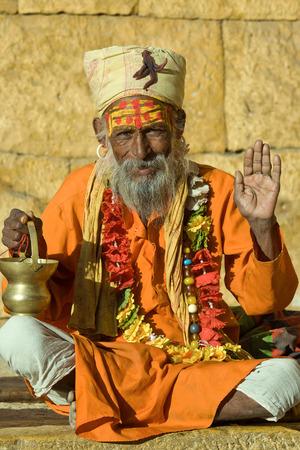 Indian sadhu, holy man. Jaisalmer, Rajasthan, India. Stock Photo - 28905488