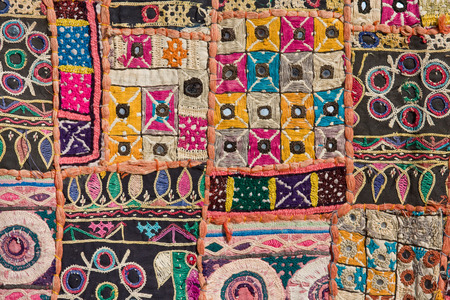 Indian colorful patchwork carpet in Rajasthan , Asia