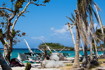 carnage: Island Malapascua after Super Typhoon Yolanda  Haiyan in the Philippines with horrible destruction Stock Photo