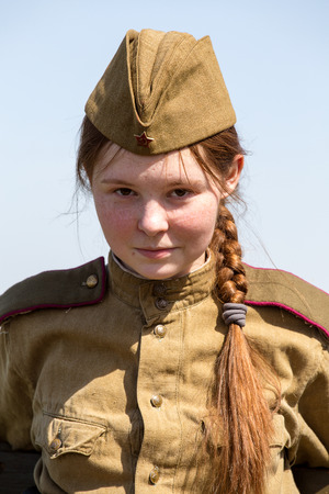 KIEV, UKRAINE - MAY 11 : Member of Red Star history club wear historical Soviet uniform during historical reenactment of WWII on May 11, 20113 in Kiev, Ukraine