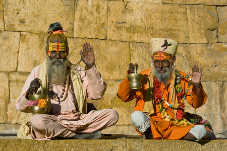 Indian sadhu (holy man). Jaisalmer, Rajasthan, India. photo
