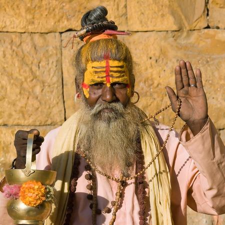 Indian sadhu (holy man). Jaisalmer, Rajasthan, India. Stock Photo - 29125445