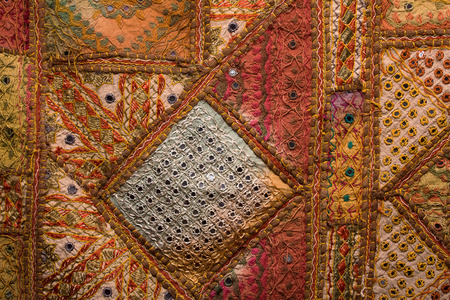 Indian colorful patchwork carpet in Rajasthan , Asia photo