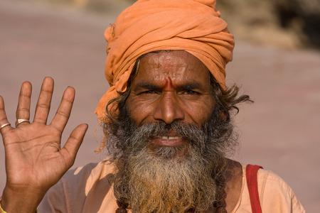 devprayag: Indian sadhu , holy man. Devprayag, Uttarakhand, India. Stock Photo