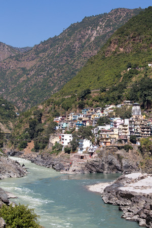 devprayag: Devprayag is the last prayag of Alaknanda River and from this point the confluence of Alaknanda and Bhagirathi River is known as Ganga. Uttarakhand, India. Editorial