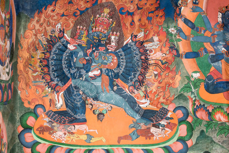 Masterpiece of traditional painting art about Buddha story on the temple wall in Tiksey Monastery. Ladakh, India