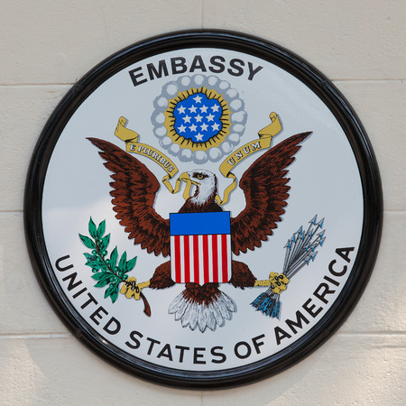 BANGKOK,THAILAND - JANUARY 8, 2015: The USA embassy sign. The embassy is located on Wireless Road in the heart of Bangkok.