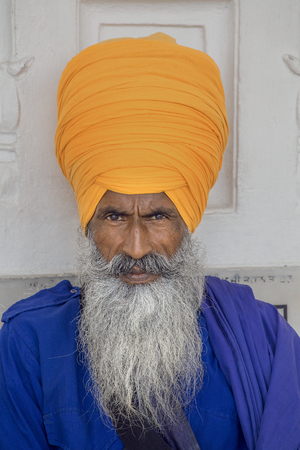 sanskrit: Portrait of Indian sikh man in turban with bushy beard Stock Photo