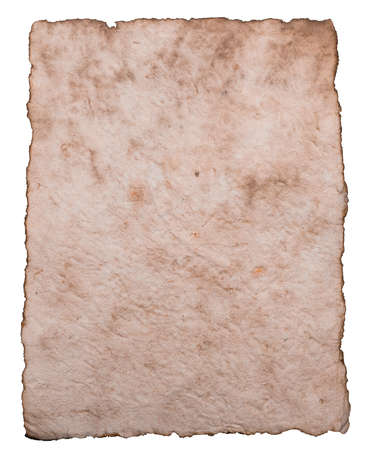 sheet of paper: Old ancient sheet paper isolated on white background