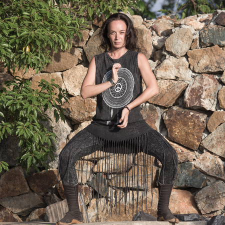 shamanic: Beautiful girl doing shamanic dance in nature. doing shamanic dance in nature