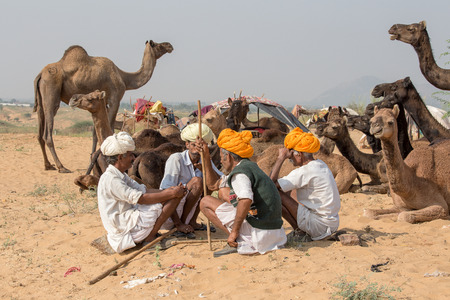 indian fair: PUSHKAR, INDIA - OCTOBER 27, 2014: Unidentified Indian men attended the annual Pushkar Camel Mela. This fair is the largest camel trading fair in the world. Editorial