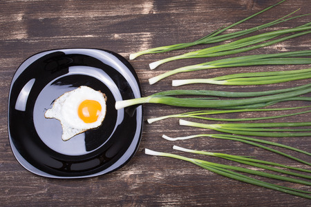 sex cell: Egg , chives and black plate look like sperm competition, Spermatozoons floating to ovule