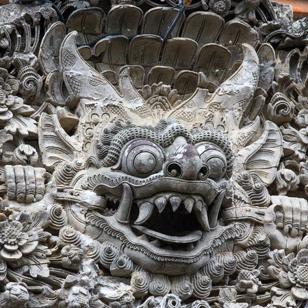 ubud: Traditional stone sculpture in the temple in Ubud, Bali, Indonesia