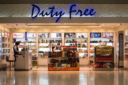 BANGKOK, THAILAND - NOVEMBER 14, 2014: Duty free shop at Suvarnabhumi International Airport