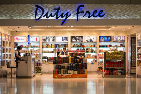 BANGKOK, THAILAND - NOVEMBER 14, 2014: Duty free shop at Suvarnabhumi International Airport