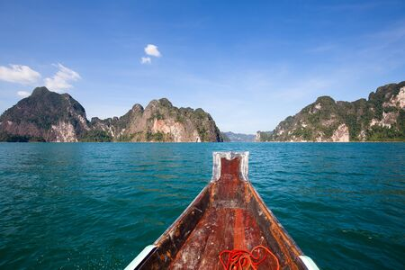 sok: View sitting in a boat travel in lake at Khao Sok National Park, Surat Thani, Thailand.