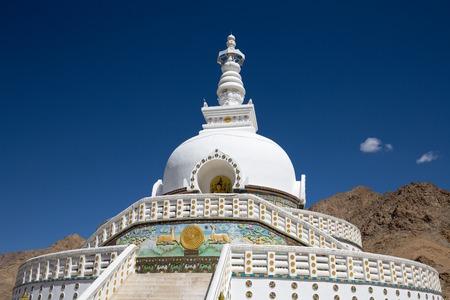 shanti: Tall Shanti Stupa, Peace Pagoda near Leh, Ladakh, Jammu and Kashmir, India Stock Photo