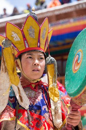 tantric: HEMIS, INDIA - JUNE 26, 2015 : Unidentified tibetan buddhist monk during Hemis Festival at Ladakh, North India Editorial
