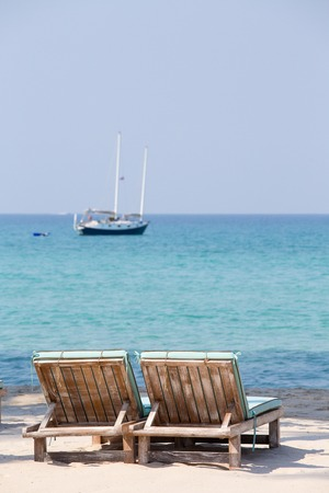 kood: Two beach chairs and beautiful sand beach, Island Koh Kood, Thailand