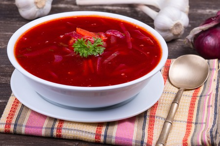 meat soup: Ukrainian and russian national food - red beet soup, borscht . Close up