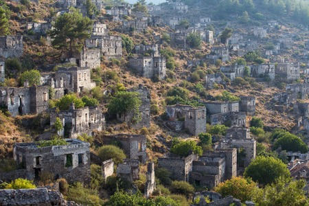 kayakoy: Empty Houses in Kayakoy Ghost Town, Turkey