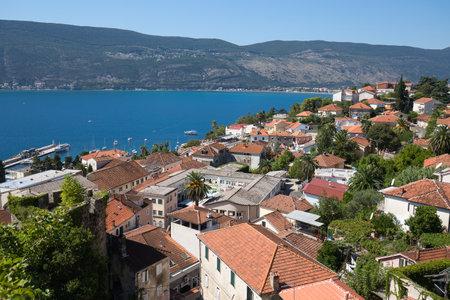 forte: HERCEG NOVI, MONTENEGRO - SEPTEMBER 13, 2015: View of Herceg Novi from the fortress wall of Forte Mare, Montenegro