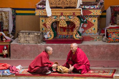 dance time: LAMAYURU, INDIA - JUNE 13, 2015: Unidentified buddhist monk during mystical mask dancing Tsam mystery dance in time of Yuru Kabgyat Buddhist festival at Lamayuru Gompa, Ladakh, North India