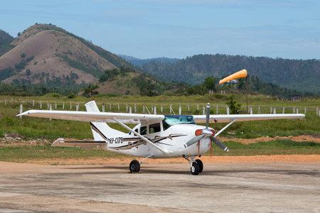 coron: BUSUANGA, PHILIPPINES - FEBRUARY 08, 2014 : Airplane in Busuanga airport in island Coron.