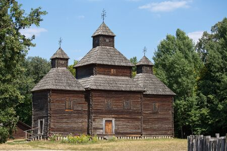 pirogovo: Wooden ukrainian antique orthodox church in summer in Pirogovo museum, Kiev, Ukraine