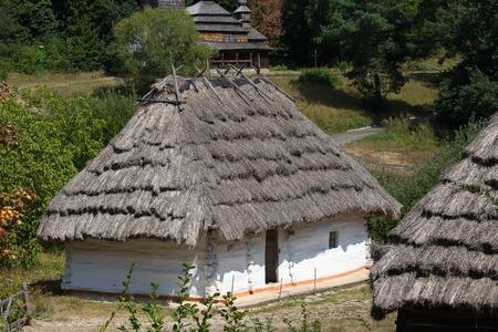 pirogovo: Wooden houses taken in park in summer in Pirogovo museum, Kiev, Ukraine
