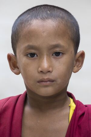 dalai: DHARAMSALA, INDIA - SEPTEMBER 24, 2014: An unidentified young Tibetan Buddhist monk in the Dharamsala near Dalai Lamas residence.