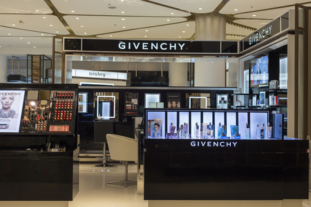 lvmh: BANGKOK,THAILAND - NOVEMBER 19, 2013 : Givenchy store in Siam Paragon Mall. With 300,000 sq m of retail space Siam Paragon is one of the worlds largest malls.