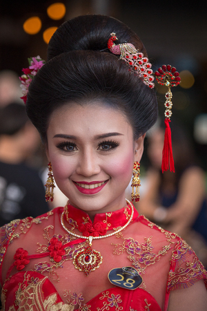 beauty contest: BANGKOK, THAILAND - FEBRUARY 06, 2016 : Unknown Thai girl takes part in a beauty contest during the Chinese New Year celebration